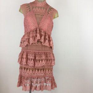 Latiste Women's dress orange lace slimming large